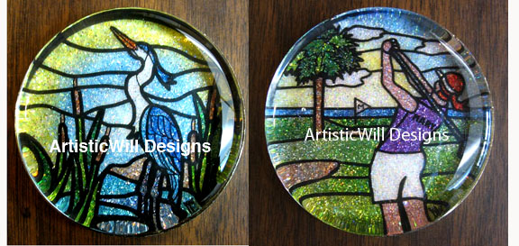 WP, Blue heron finished paperweight