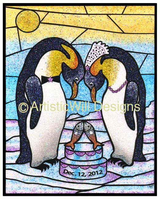 8x10 Wedding penguins,wht frame
